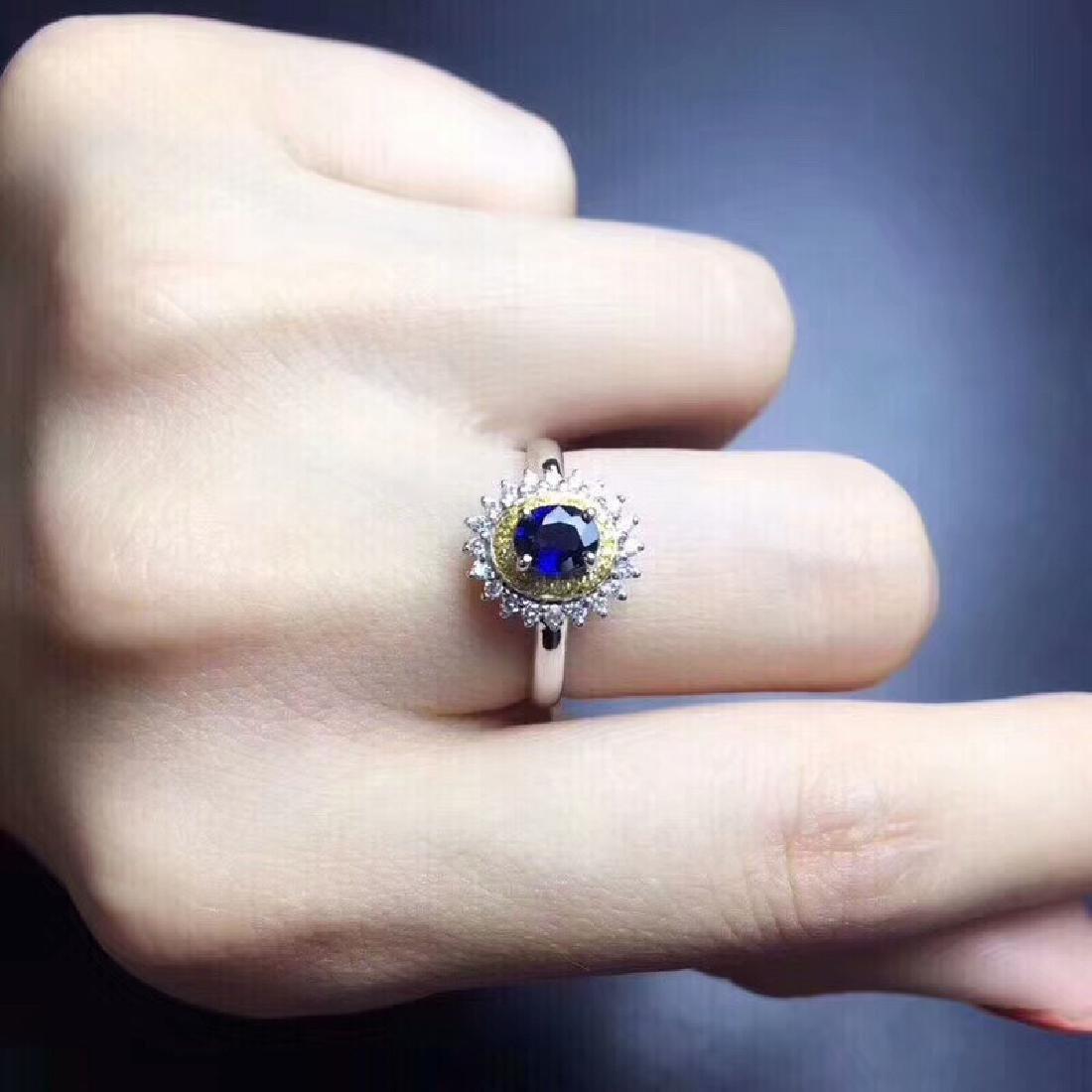 0.75 CTW Sapphire & VS Diamond Ring 18K - 3