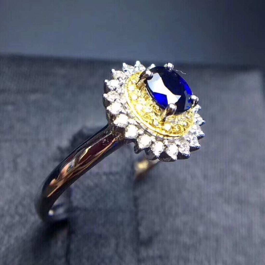 0.75 CTW Sapphire & VS Diamond Ring 18K - 4
