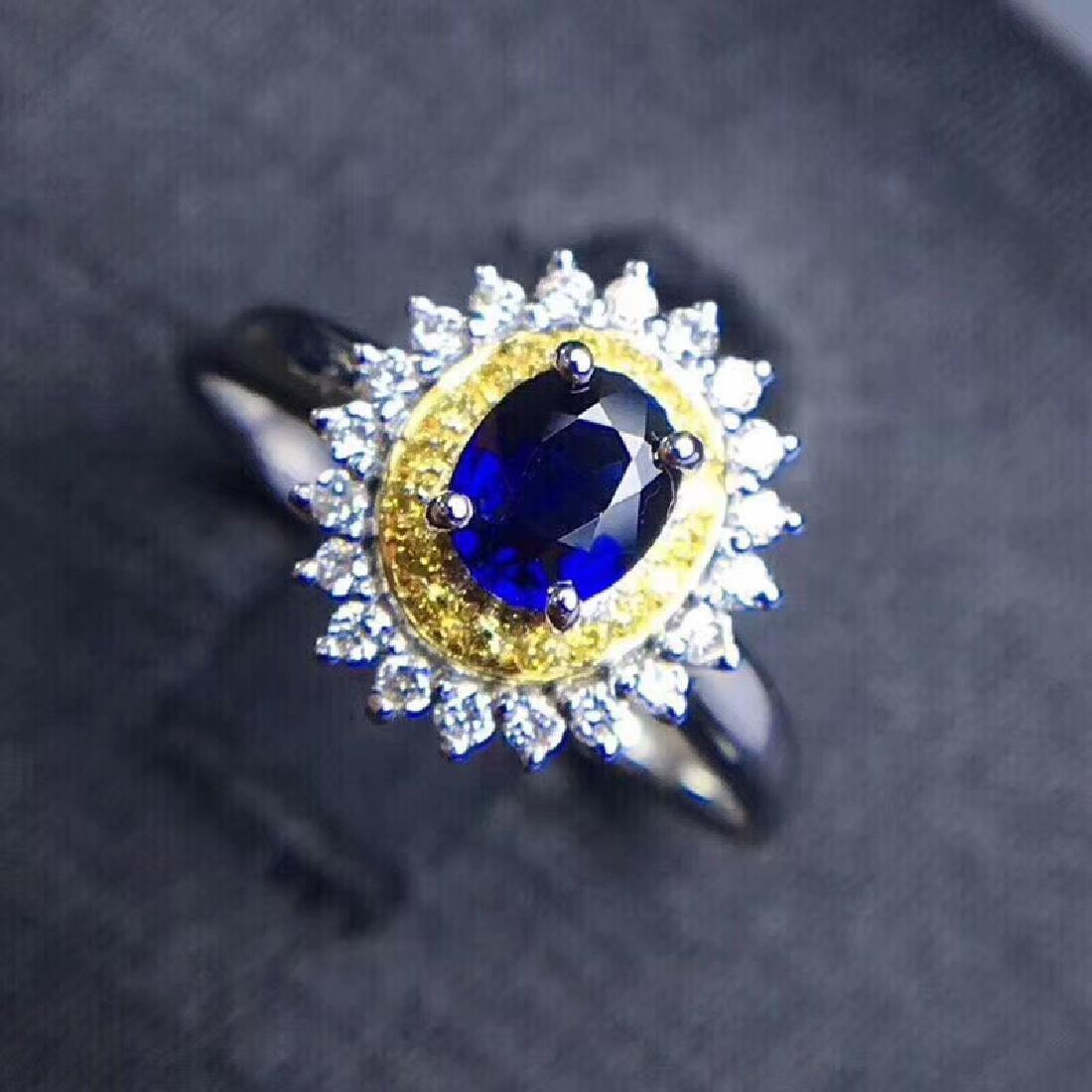 0.75 CTW Sapphire & VS Diamond Ring 18K - 7