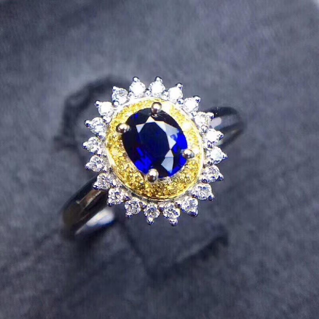 0.75 CTW Sapphire & VS Diamond Ring 18K - 8