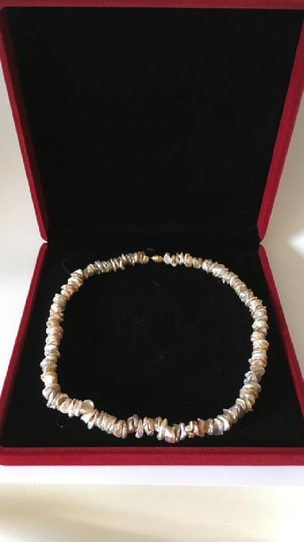 Pearl necklace of pink baroque cultivated Keshi - 5