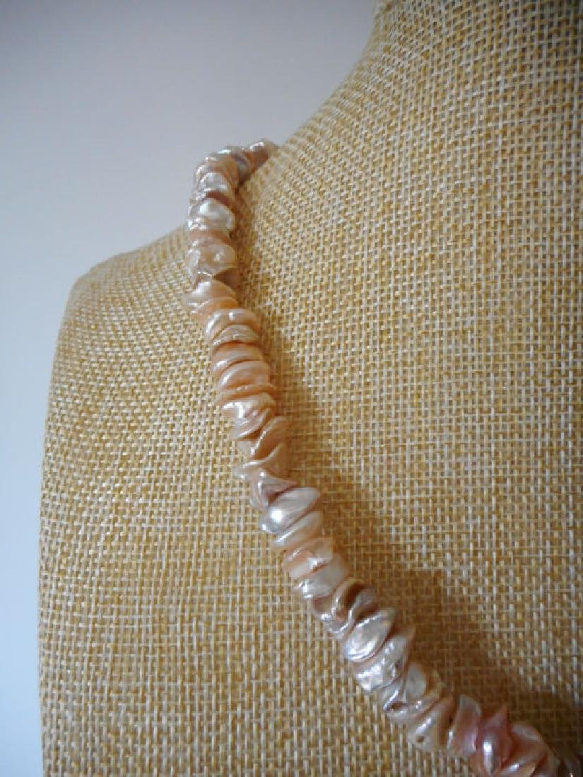 Pearl necklace of pink baroque cultivated Keshi - 6