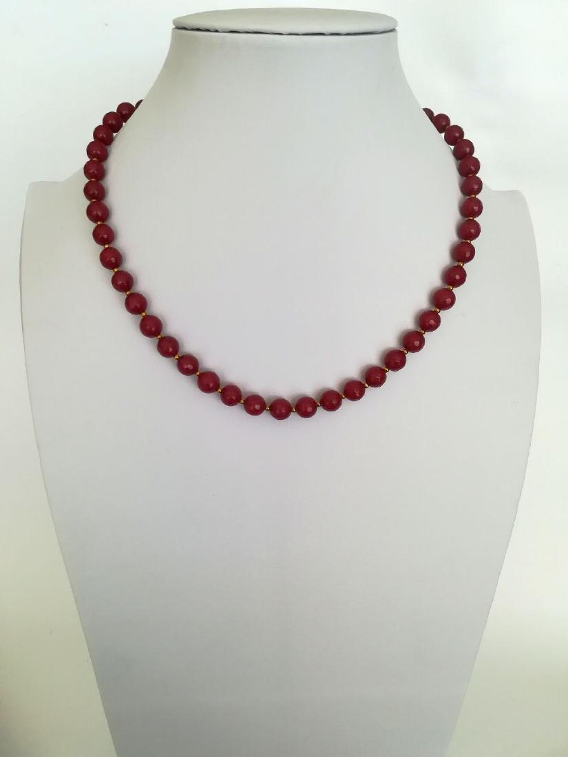 19,2 carats - Necklace Rubis 8 mm Facetados with clasp - 2