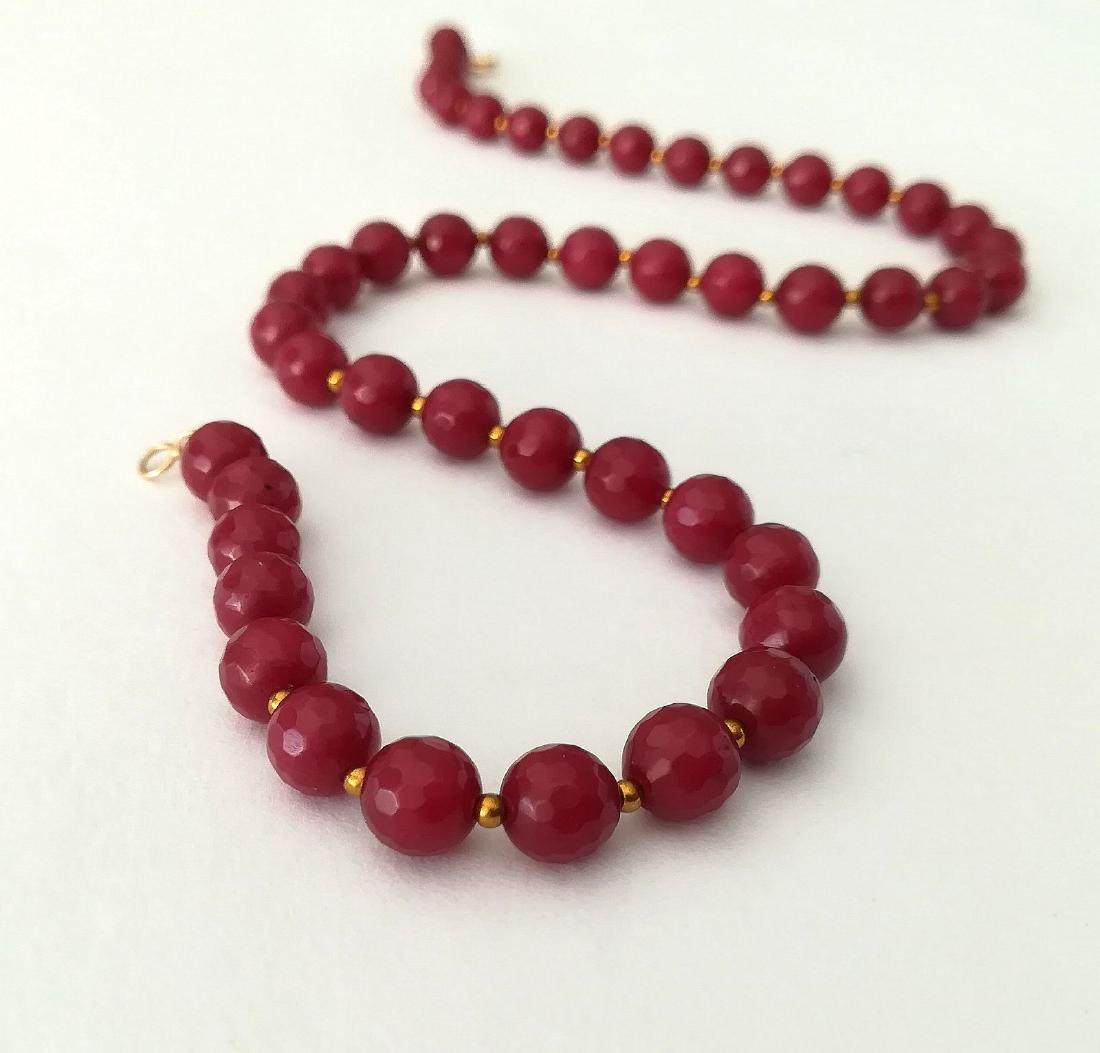 19,2 carats - Necklace Rubis 8 mm Facetados with clasp - 3