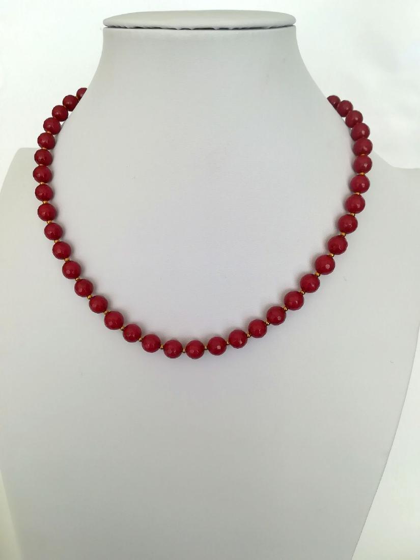 19,2 carats - Necklace Rubis 8 mm Facetados with clasp - 6