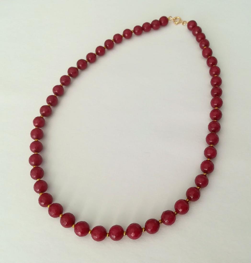 19,2 carats - Necklace Rubis 8 mm Facetados with clasp - 7