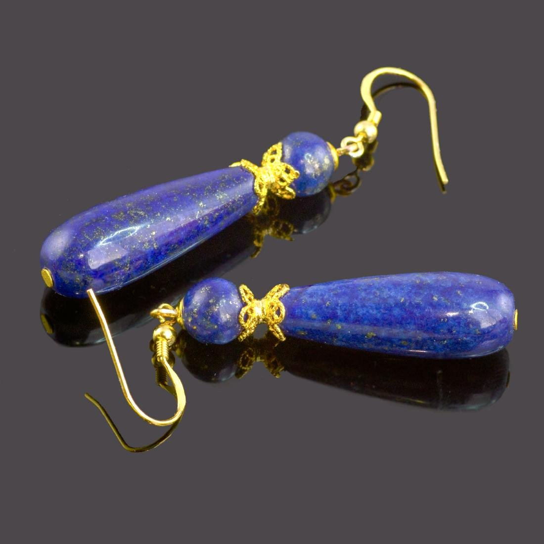 Afghan Lapis lazuli Drop Earrings - 4