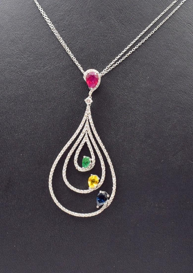 18 carat yellow gold necklace with diamond and emerald - 3