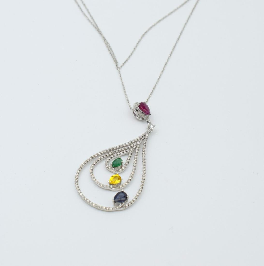 18 carat yellow gold necklace with diamond and emerald - 5