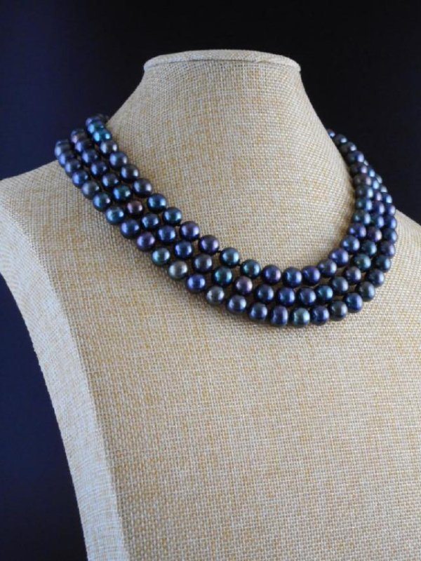 Triple strand pearl necklace of black / blue cultivated - 4
