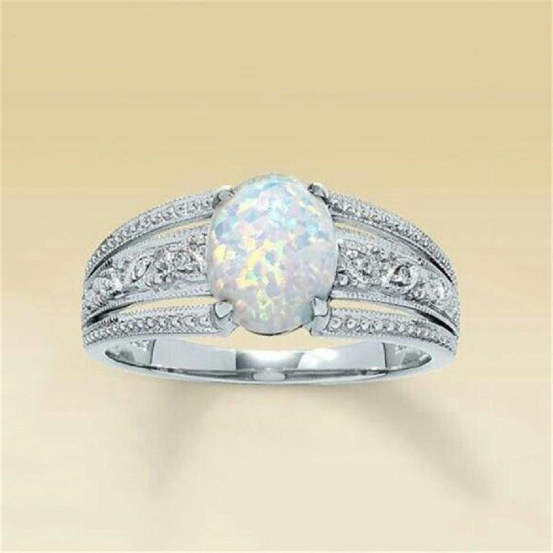2.3Ct White Fire Opal 925 Silver Ring Size 6