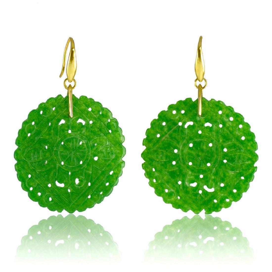 Emerald Green Carved Round Jade Earrings