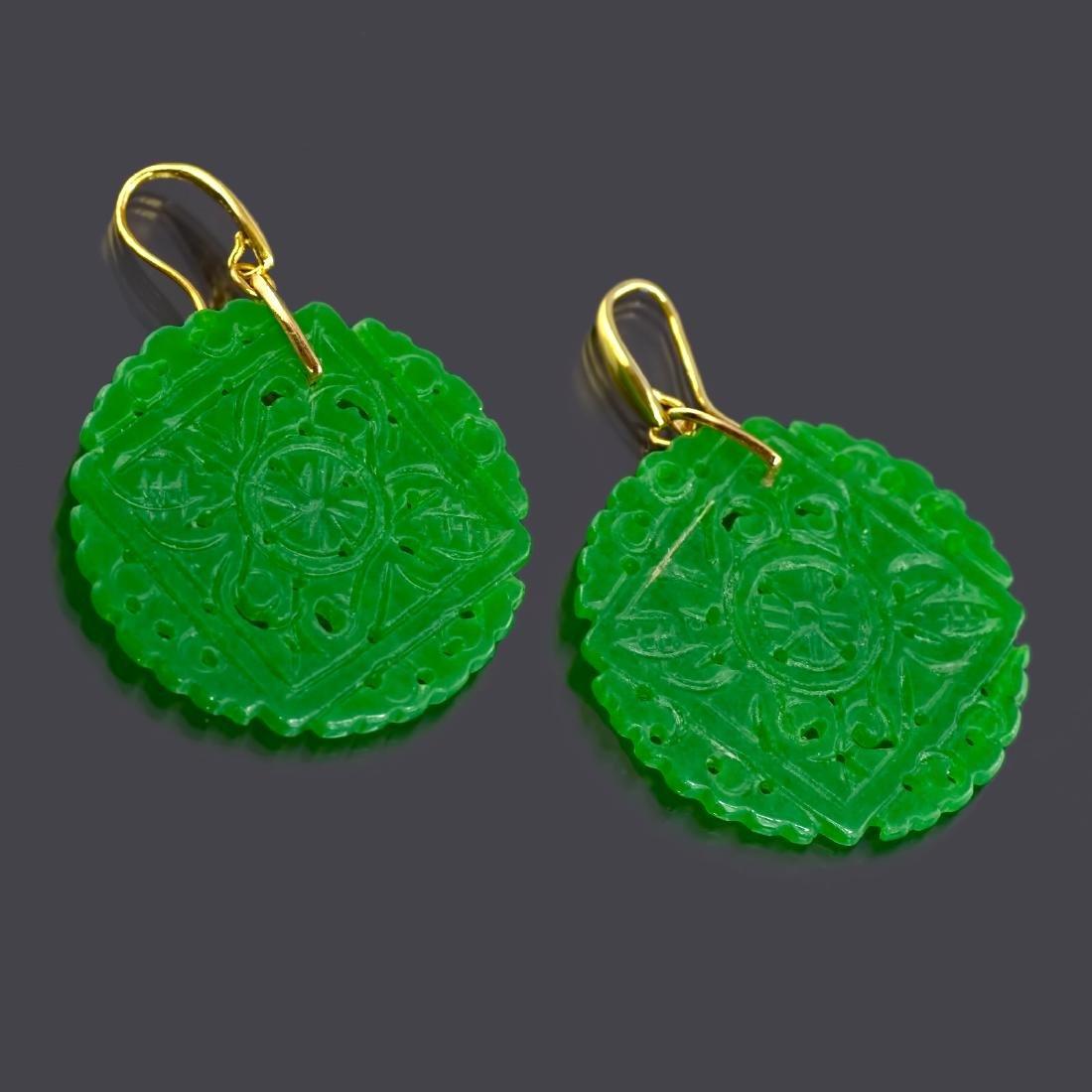Emerald Green Carved Round Jade Earrings - 2