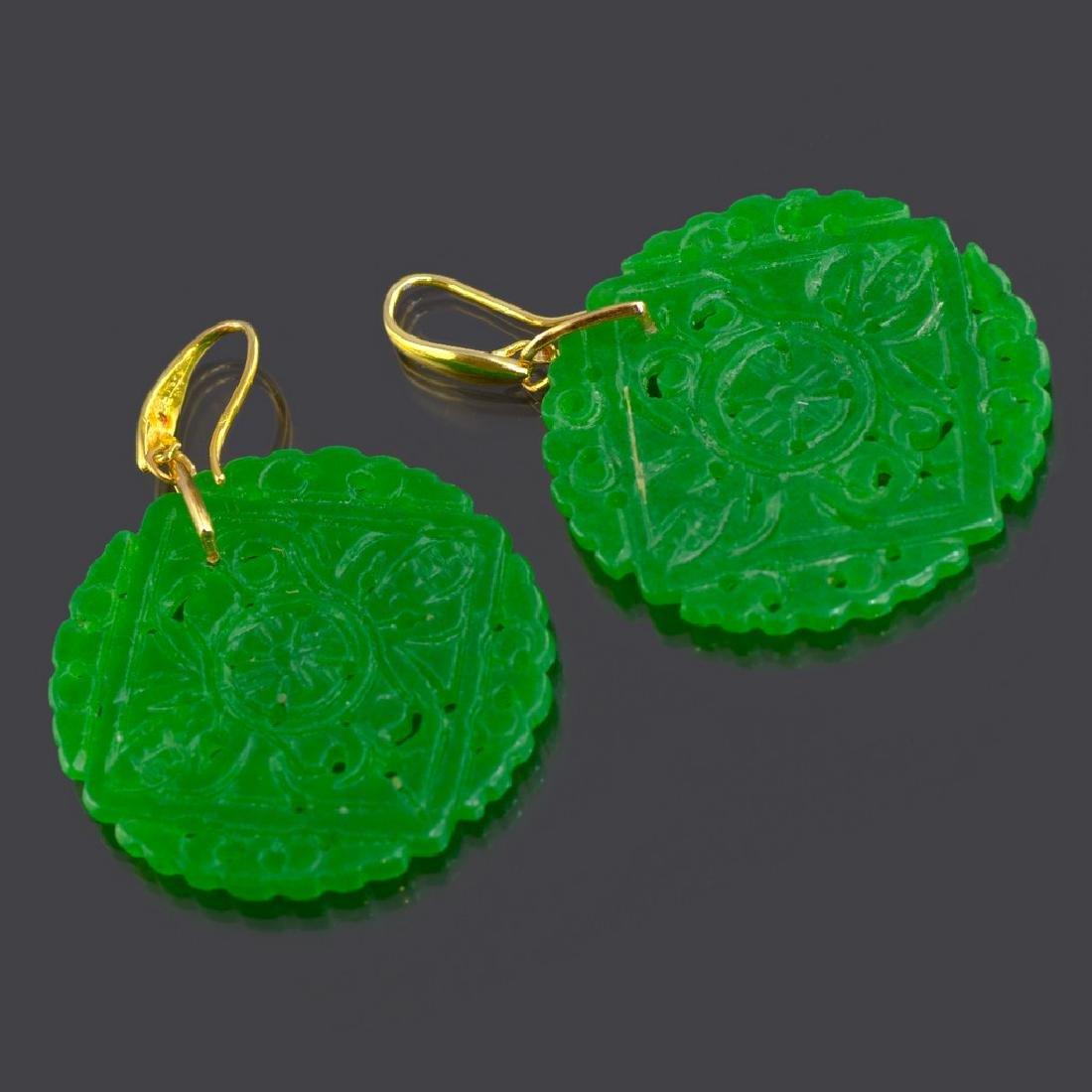 Emerald Green Carved Round Jade Earrings - 3
