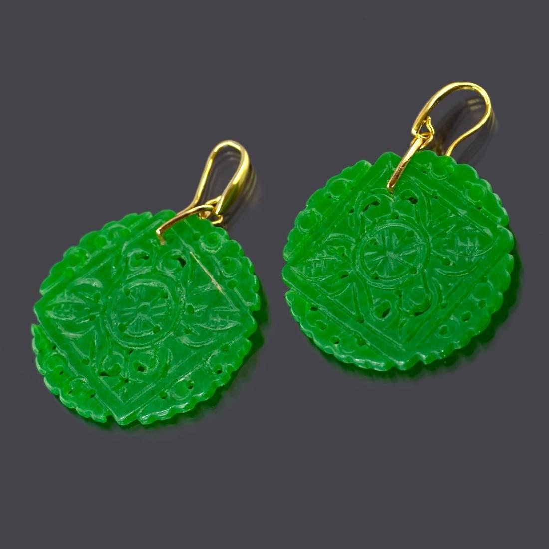 Emerald Green Carved Round Jade Earrings - 4