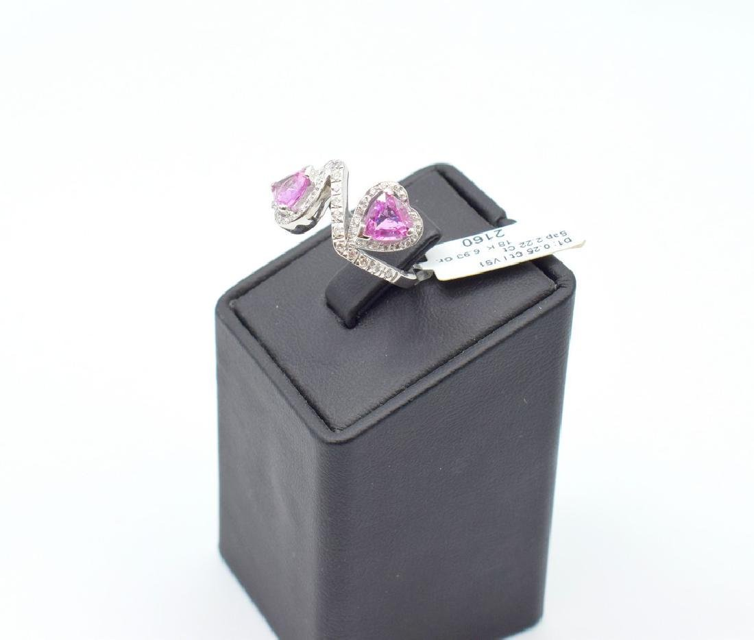 18 carat white gold ring with diamond and pink - 2