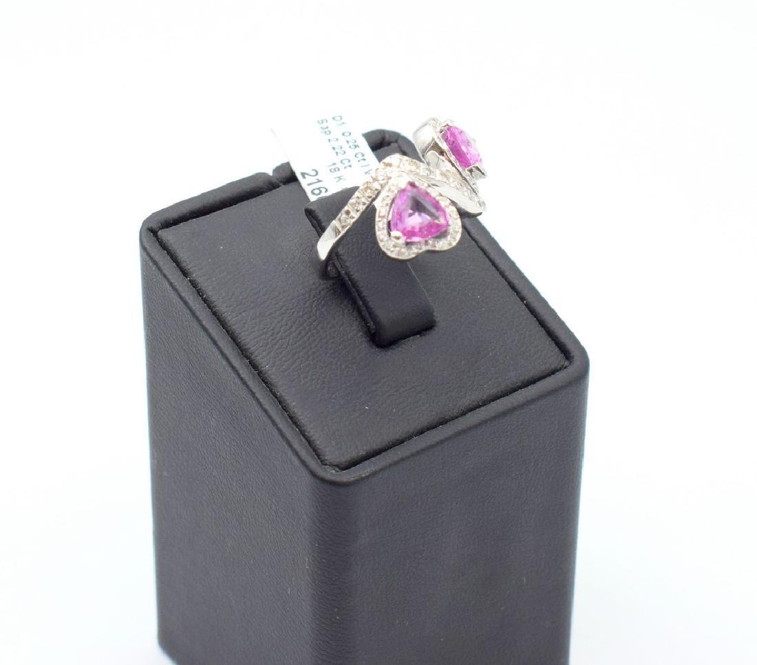 18 carat white gold ring with diamond and pink - 3