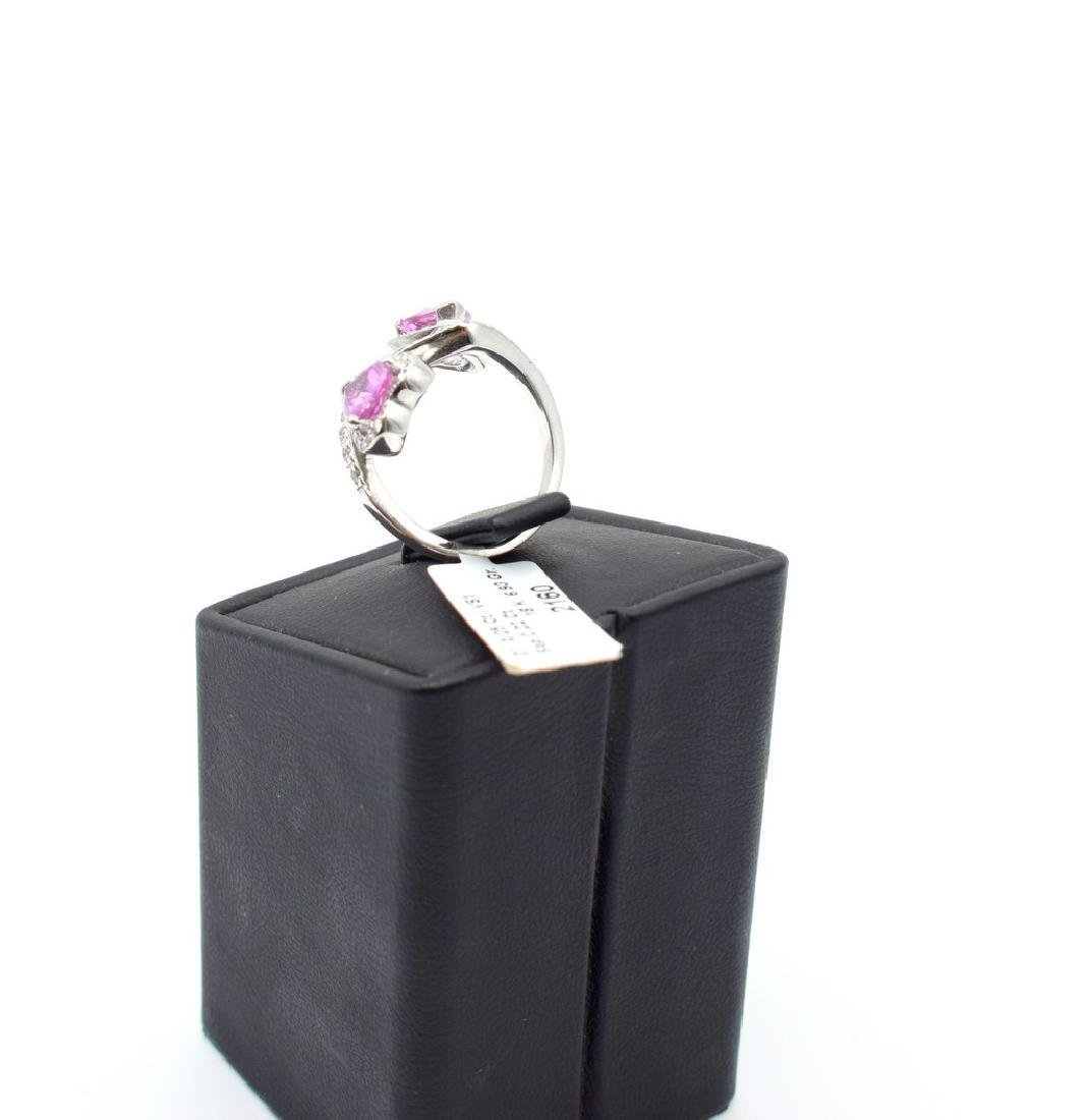18 carat white gold ring with diamond and pink - 5