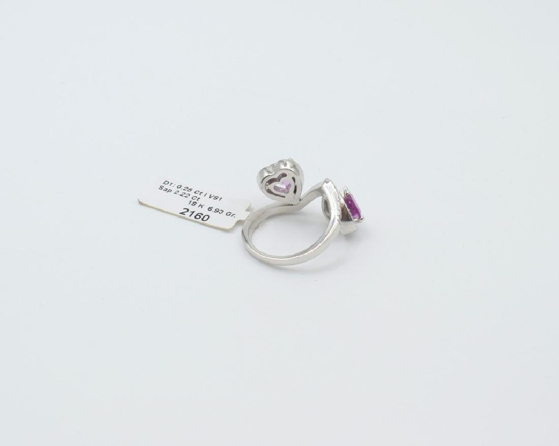 18 carat white gold ring with diamond and pink - 6