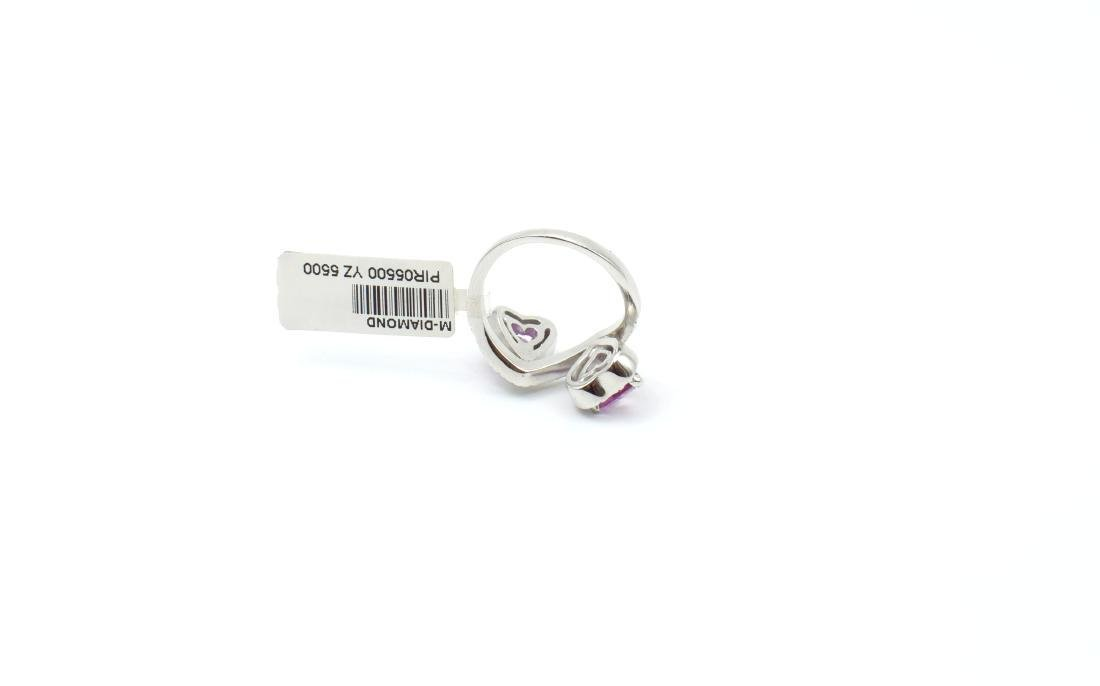 18 carat white gold ring with diamond and pink - 7