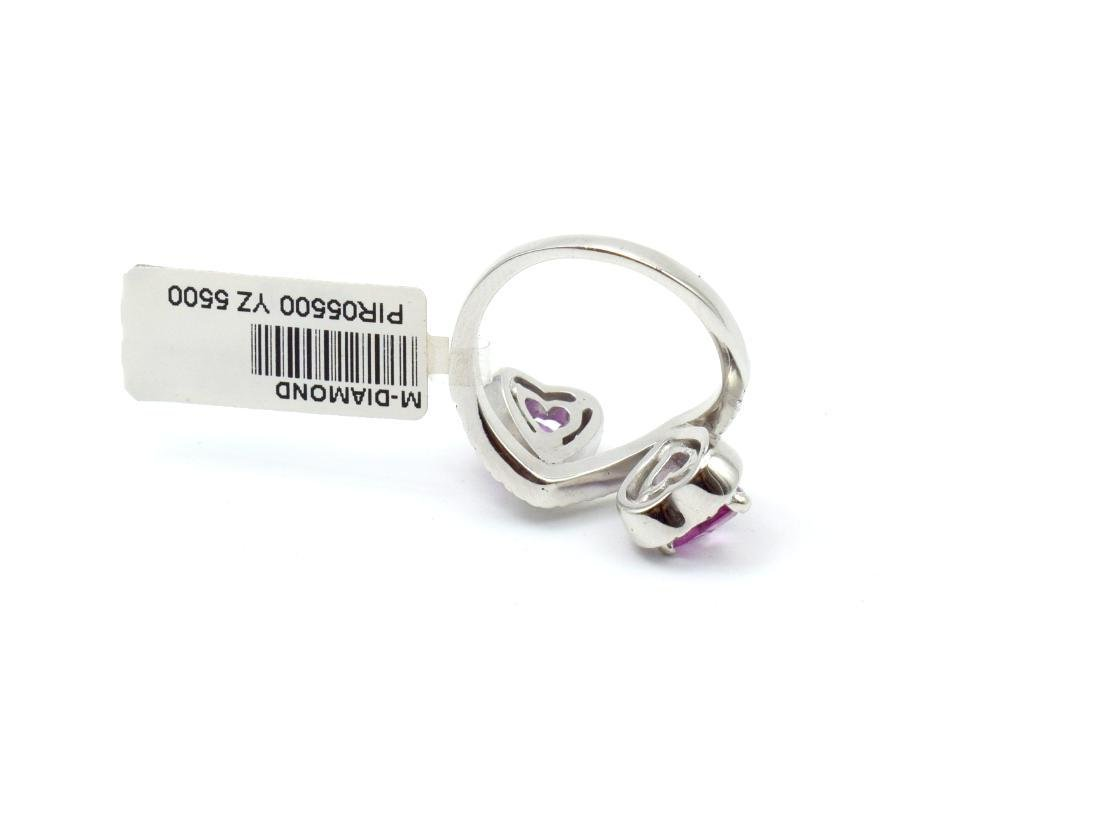 18 carat white gold ring with diamond and pink - 8