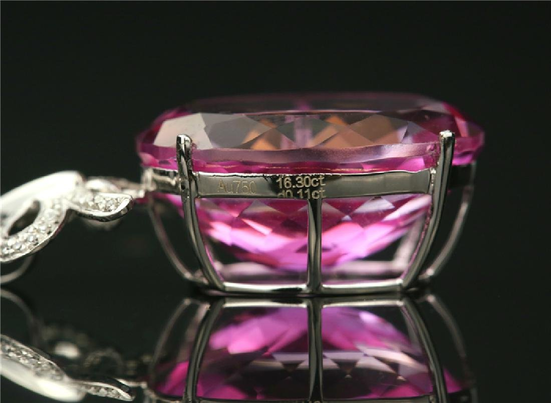 Certified-18k white gold Pendant with Pink Topaz - 3