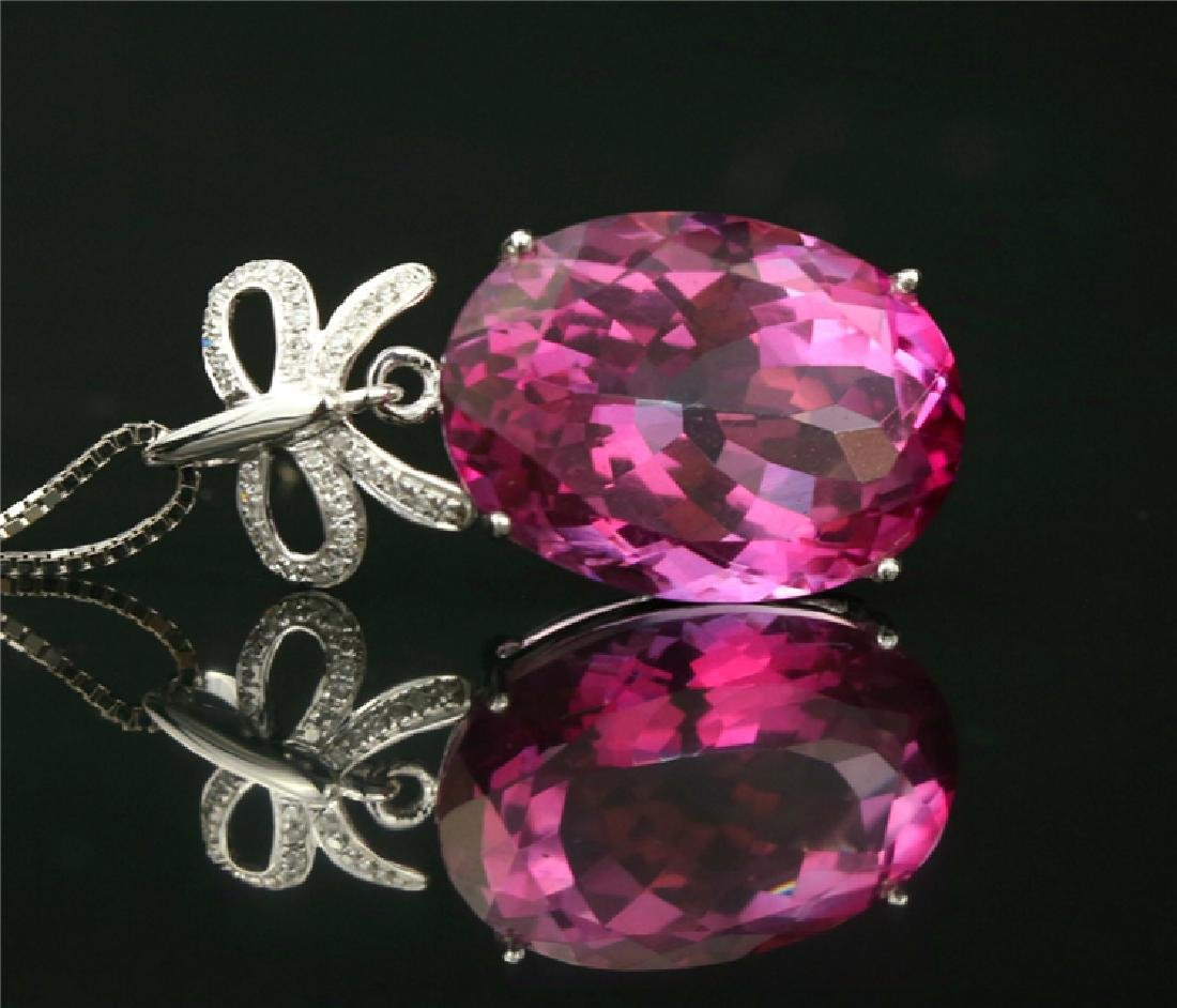 Certified-18k white gold Pendant with Pink Topaz - 4