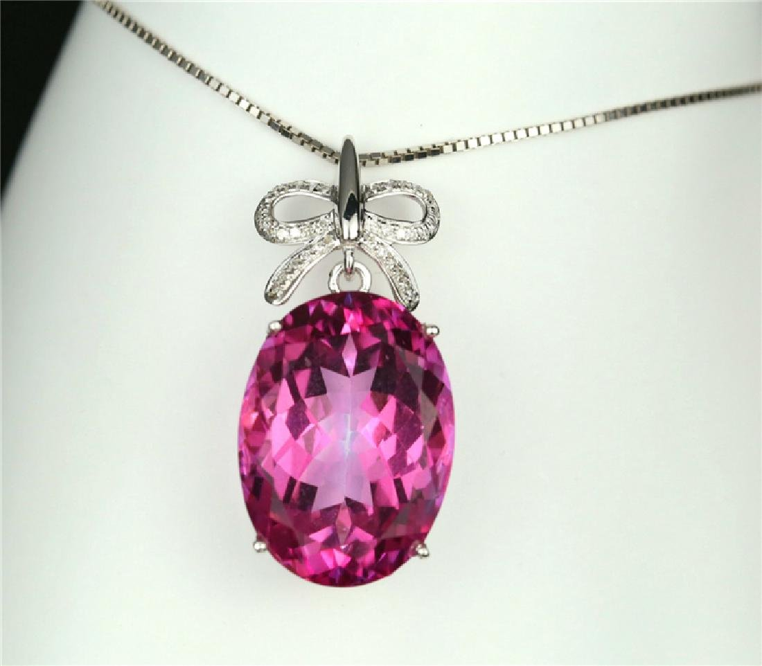 Certified-18k white gold Pendant with Pink Topaz - 6