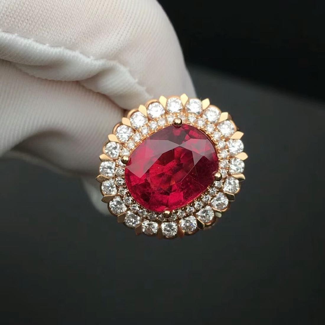 4.12 CTW Tourmaline & VS Diamond Pendant&Ring 18K