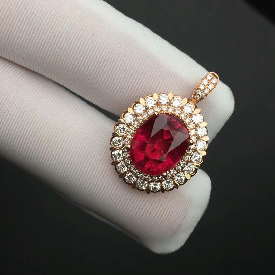 4.12 CTW Tourmaline & VS Diamond Pendant&Ring 18K - 6