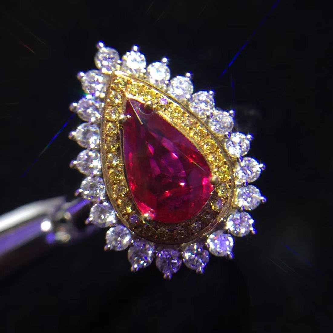 1.08ct Ruby Ring in 18kt White Gold - 2
