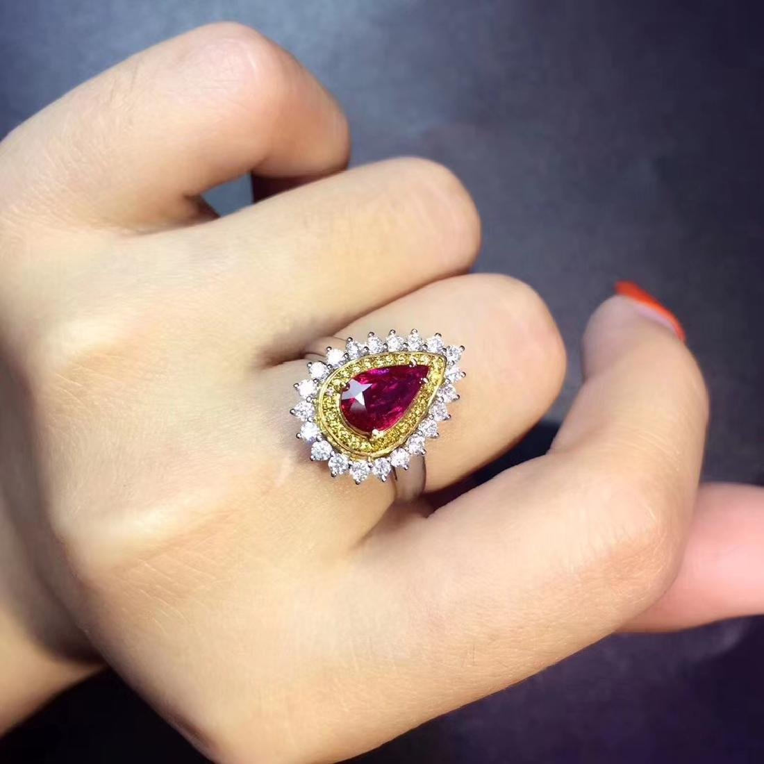 1.08ct Ruby Ring in 18kt White Gold - 5