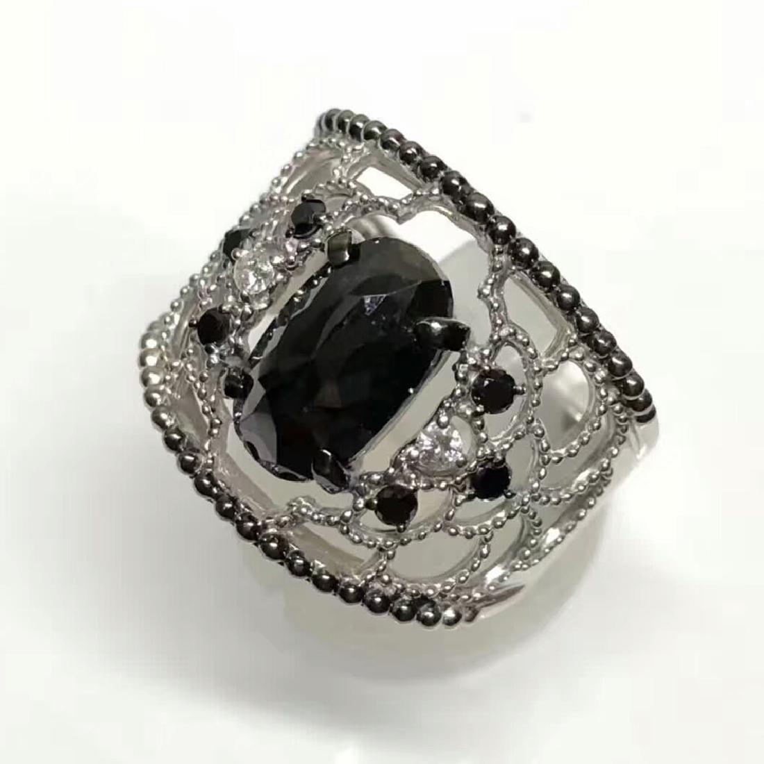 3.16ct Black Diamond Ring in 18kt White Gold - 5