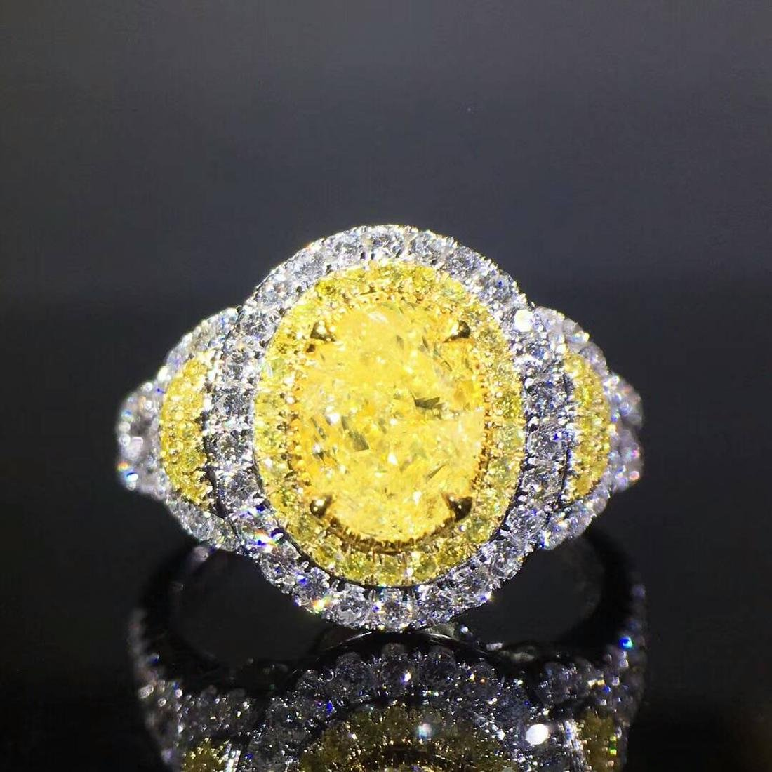 1.02 CTW Yellow Diamond & VS Diamond Ring 18K