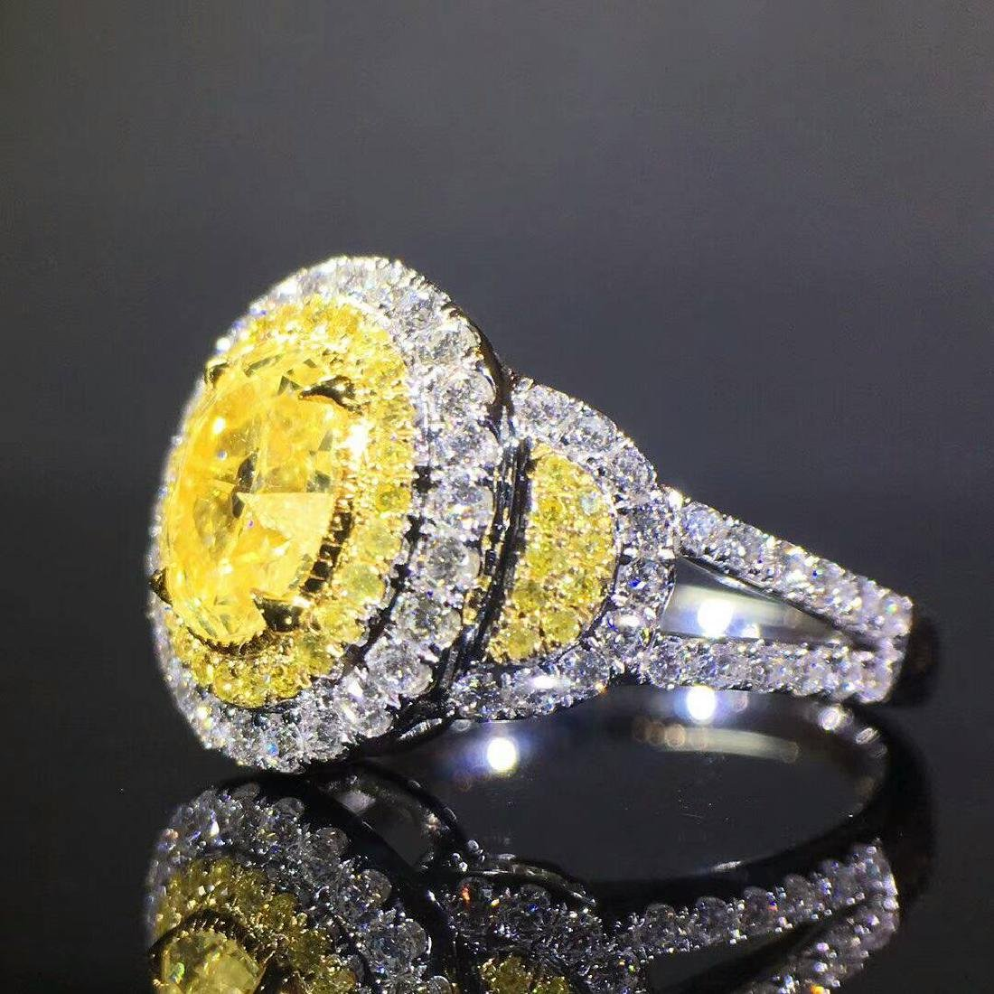 1.02 CTW Yellow Diamond & VS Diamond Ring 18K - 2