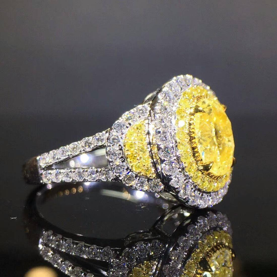 1.02 CTW Yellow Diamond & VS Diamond Ring 18K - 4