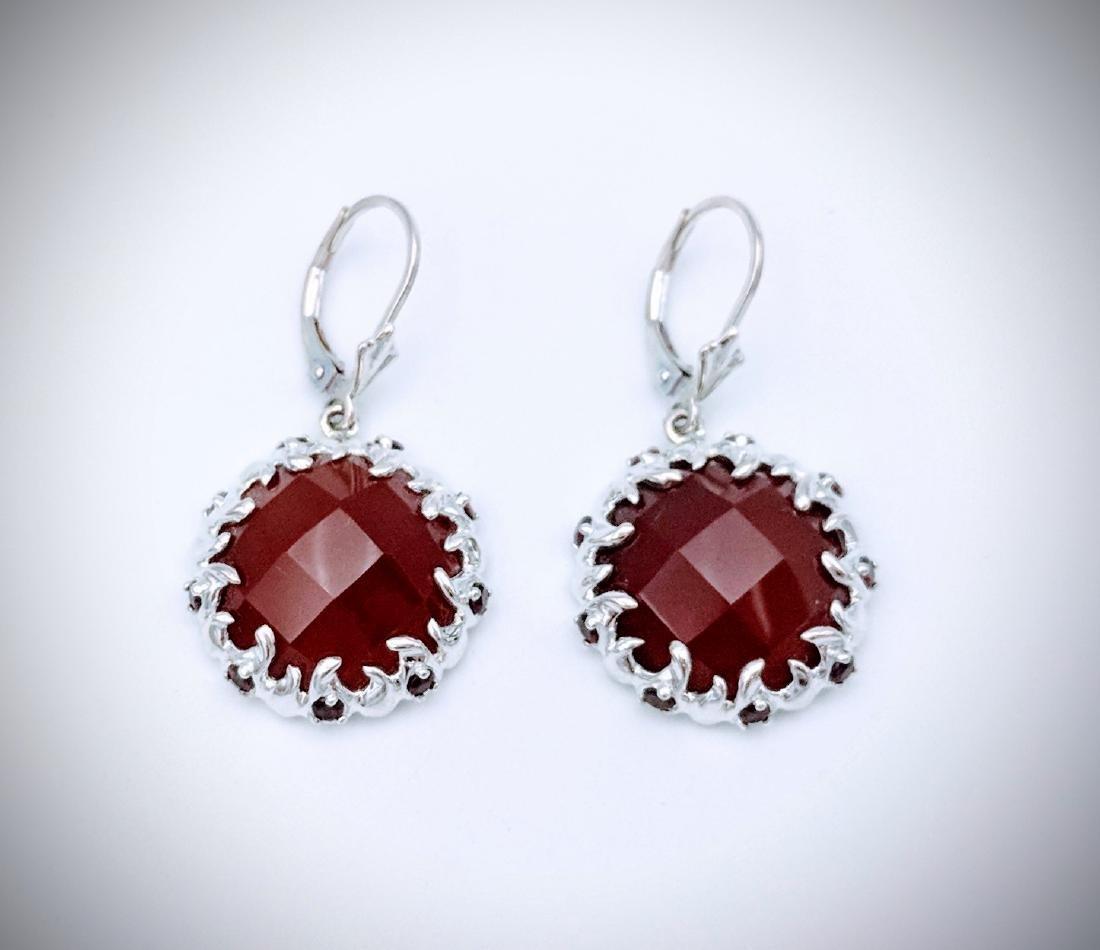Sterling Silver Carnelian, and Red Garnet Earrings