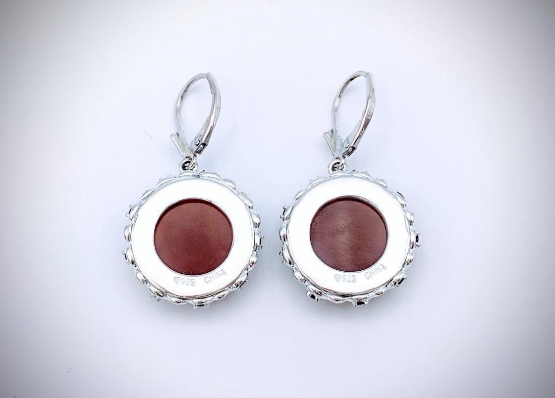 Sterling Silver Carnelian, and Red Garnet Earrings - 2