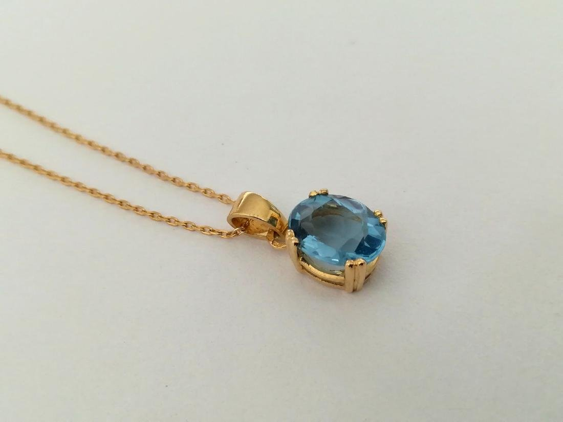 19.2 carat gold necklace With Topaz 10x8mm - 3.7 grams