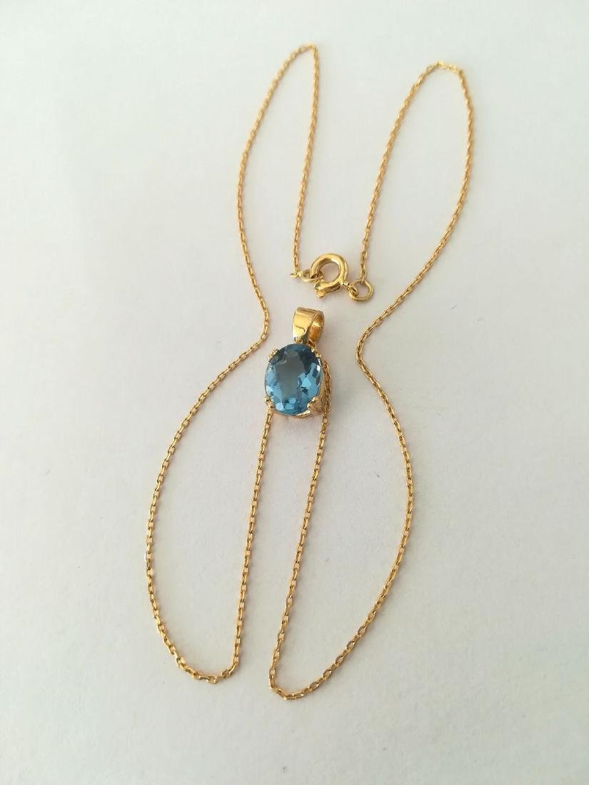 19.2 carat gold necklace With Topaz 10x8mm - 3.7 grams - 2
