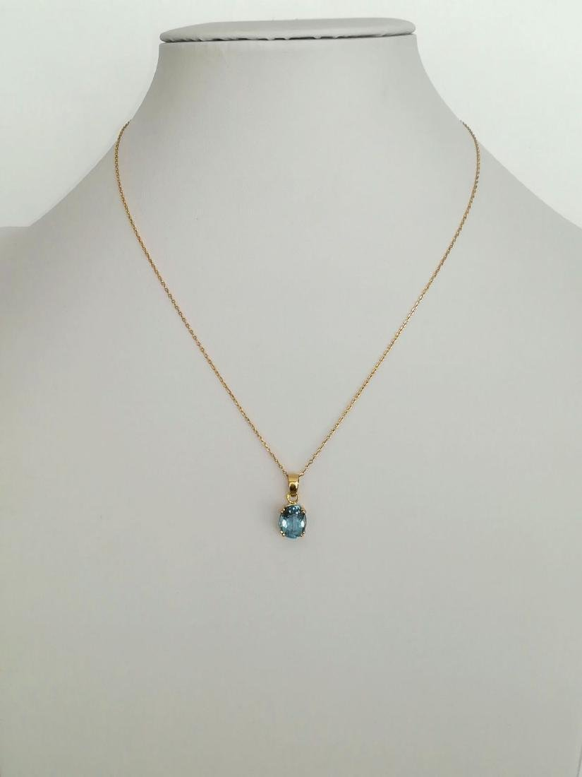 19.2 carat gold necklace With Topaz 10x8mm - 3.7 grams - 5