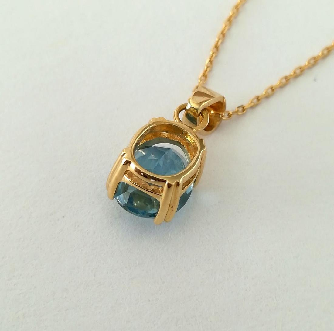 19.2 carat gold necklace With Topaz 10x8mm - 3.7 grams - 6