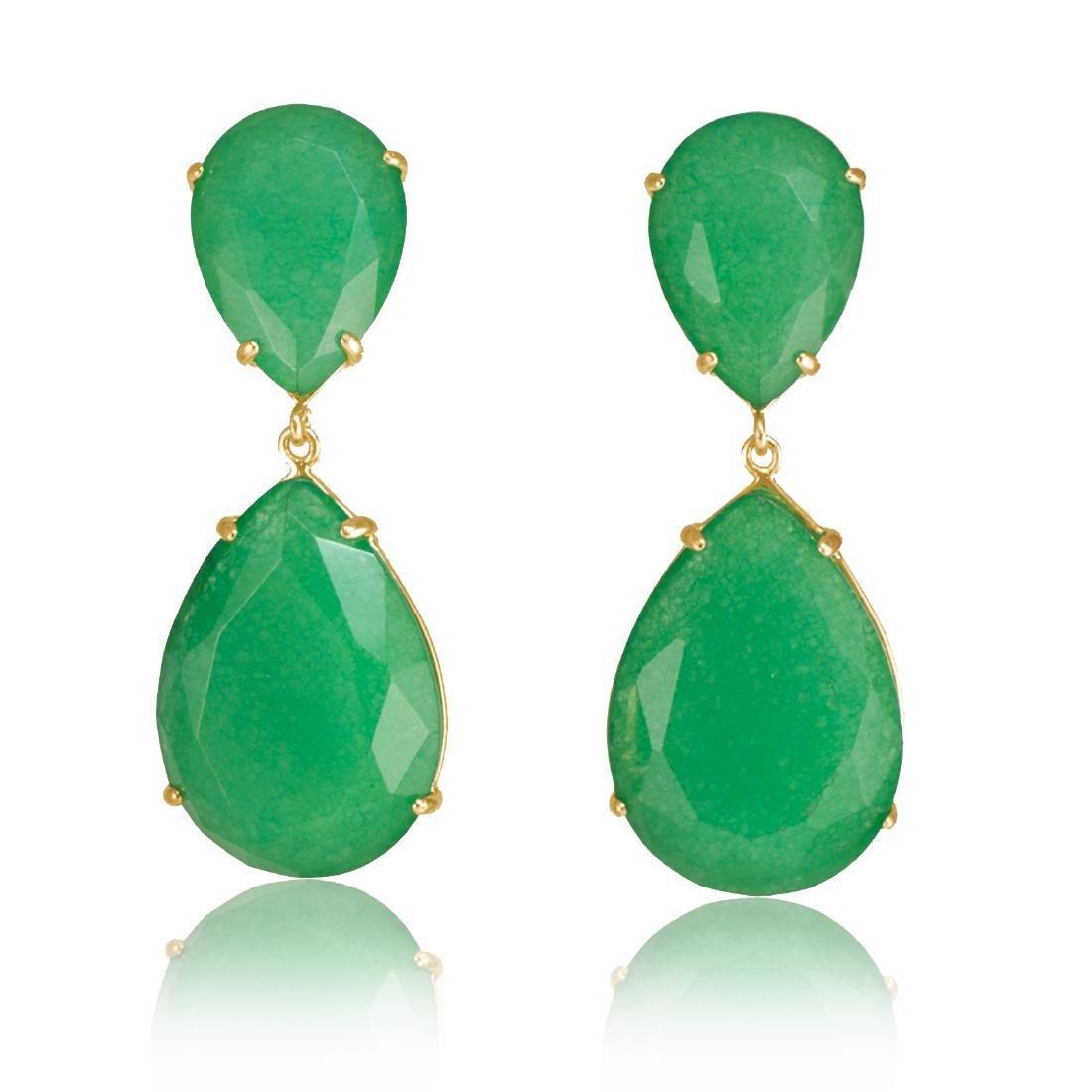 Emerald Green Jade Two Parts Earrings