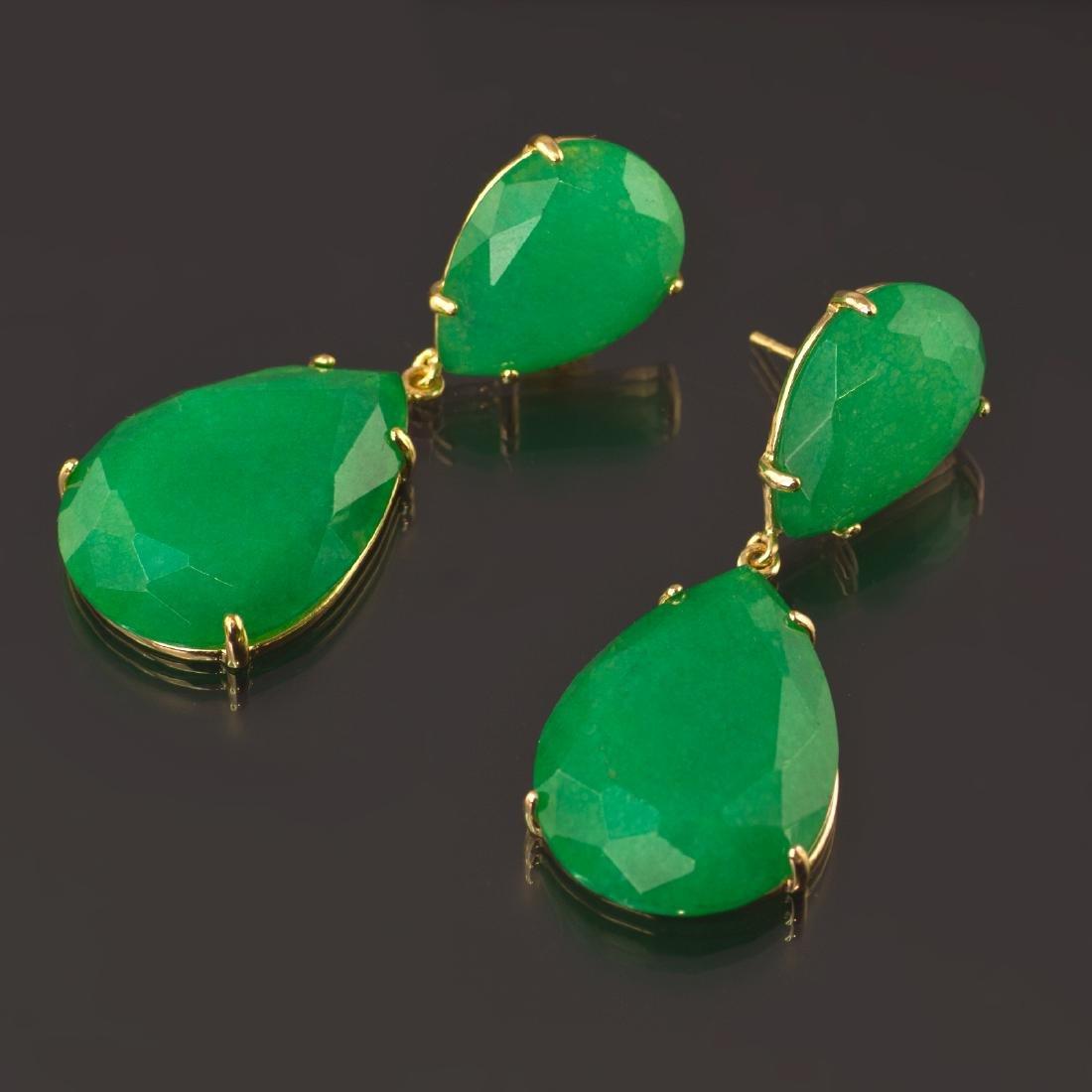 Emerald Green Jade Two Parts Earrings - 2
