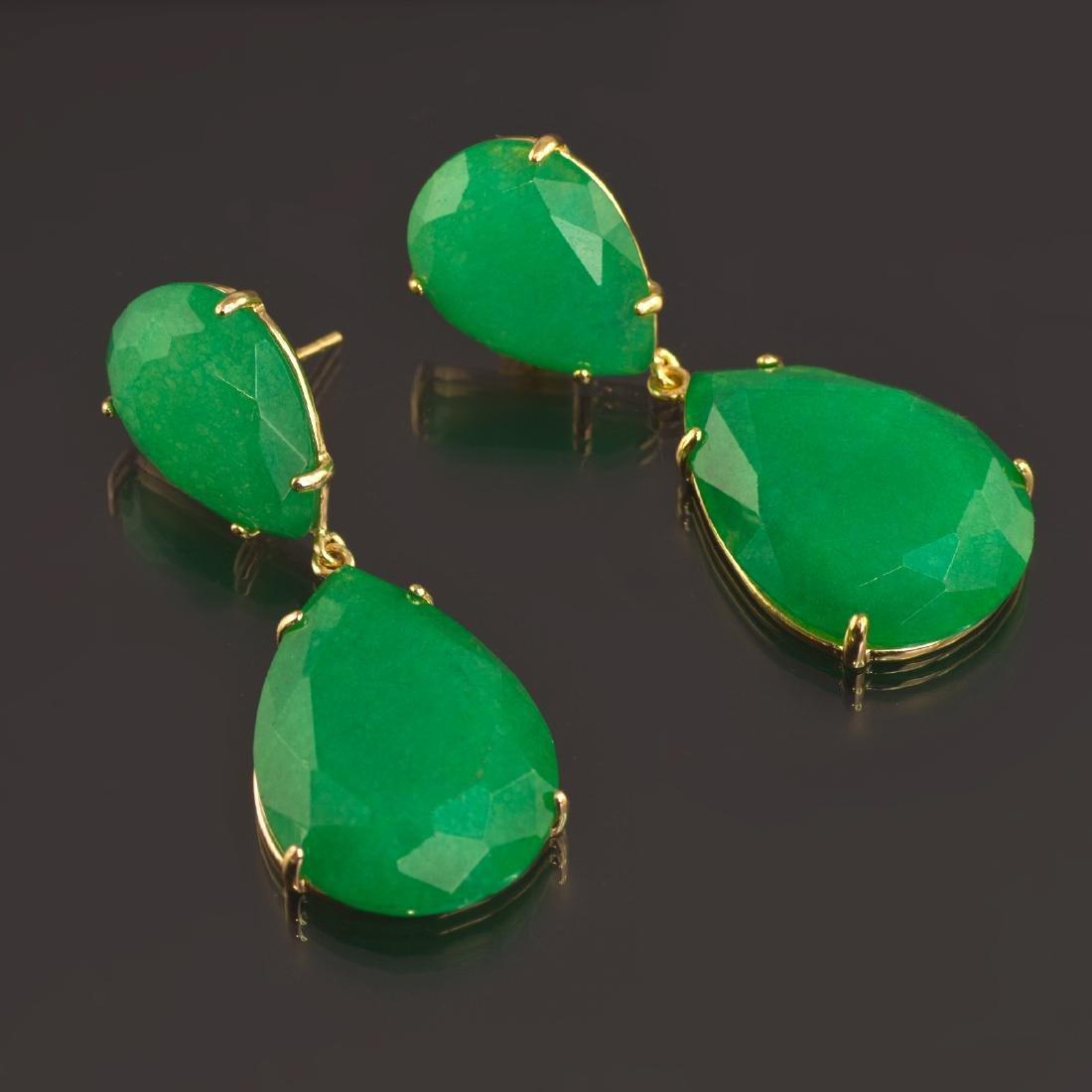 Emerald Green Jade Two Parts Earrings - 3