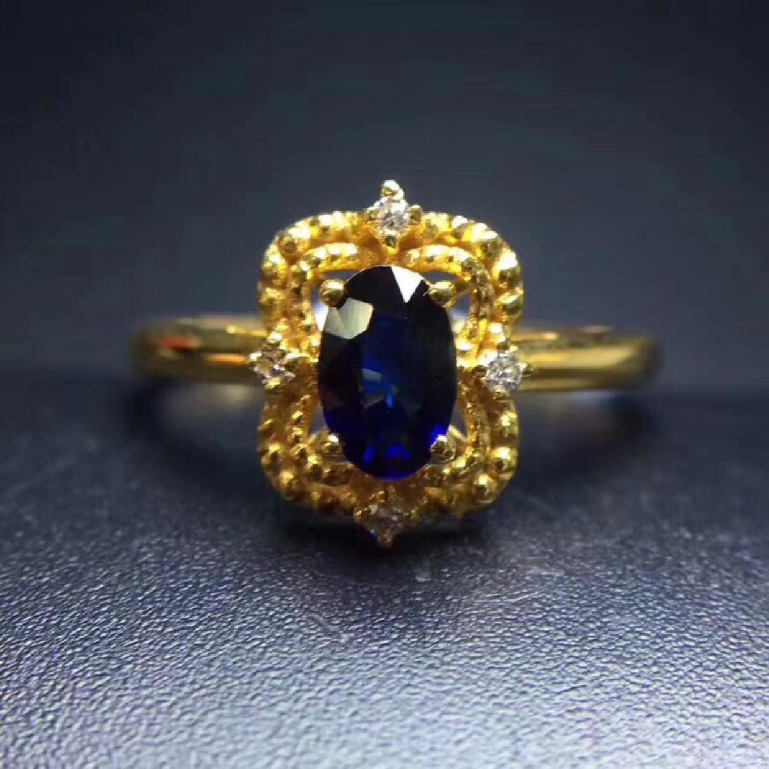0.50 CTW Sapphire & VS Diamond Ring 18K