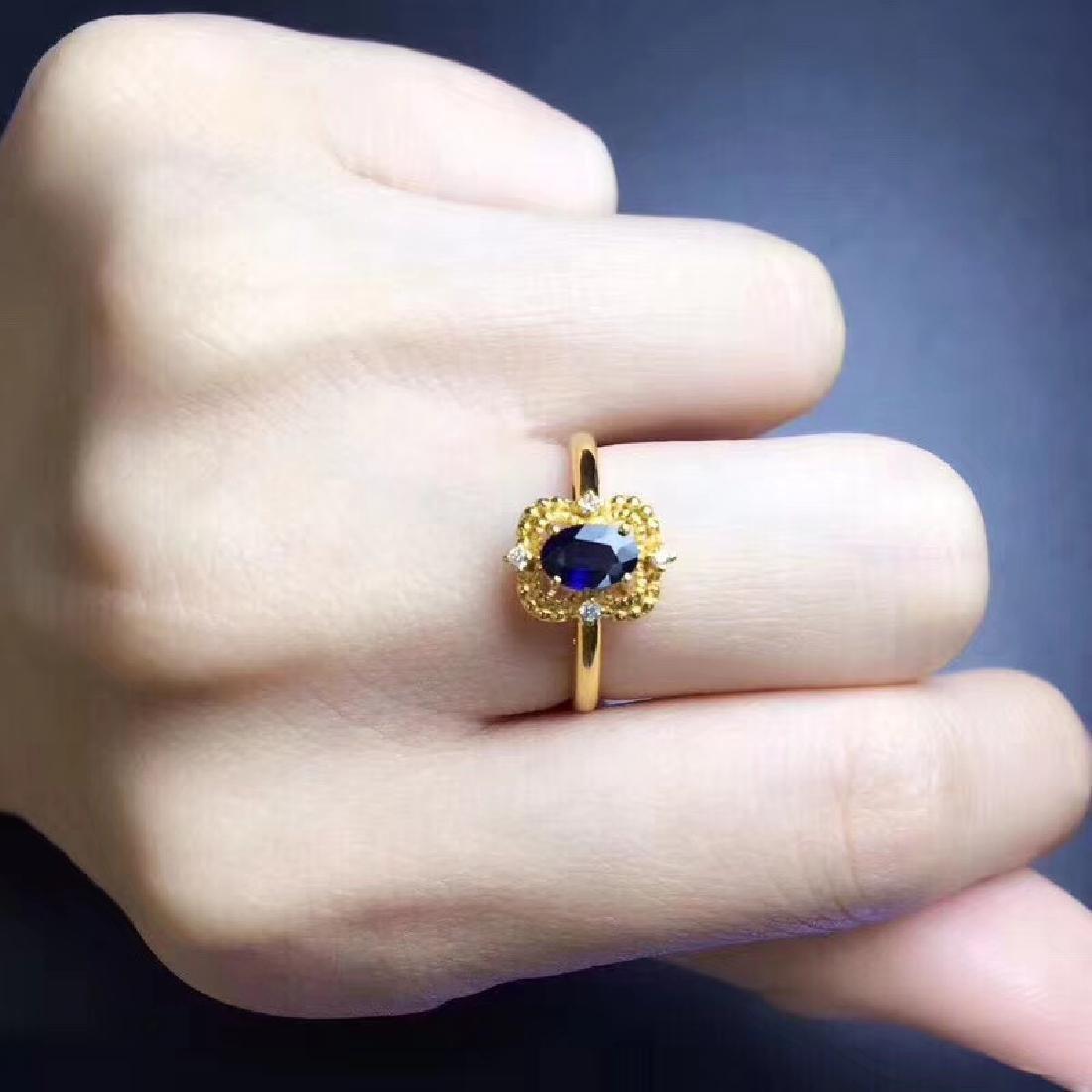 0.50 CTW Sapphire & VS Diamond Ring 18K - 4