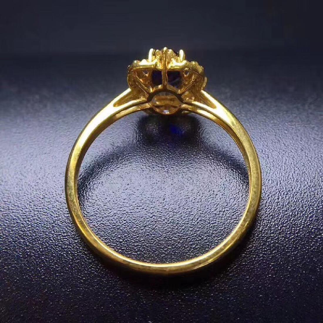 0.50 CTW Sapphire & VS Diamond Ring 18K - 5