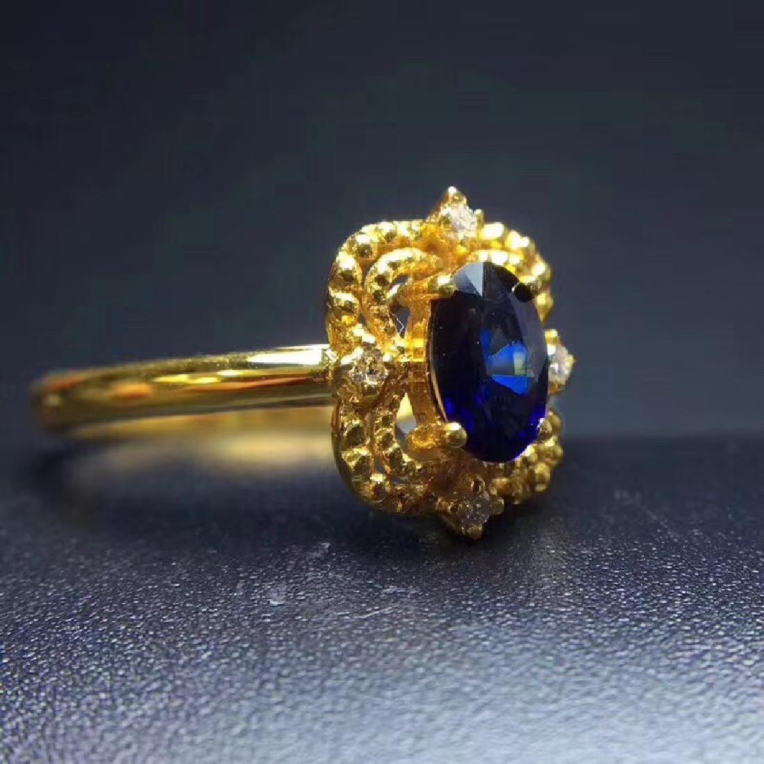 0.50 CTW Sapphire & VS Diamond Ring 18K - 6