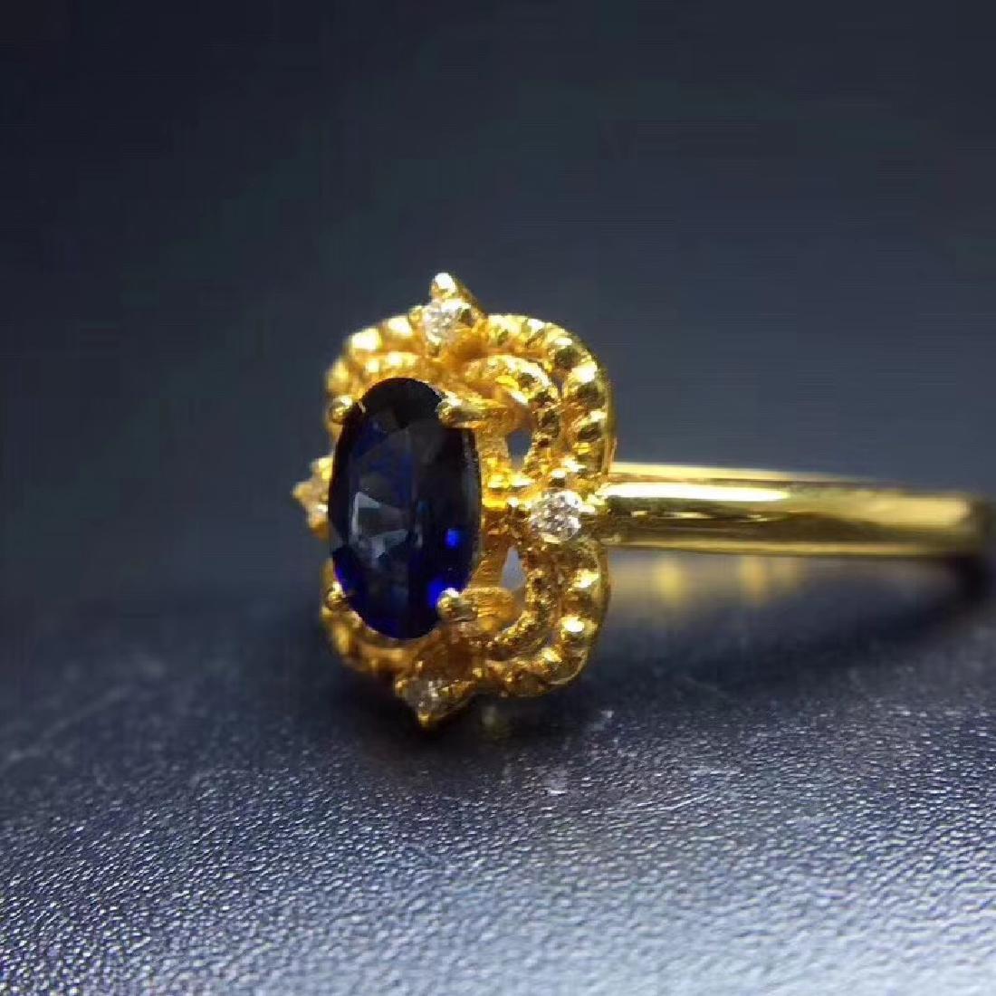 0.50 CTW Sapphire & VS Diamond Ring 18K - 7